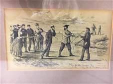 R.M. Alexander (1884-1915) Golf lithograph & gouache