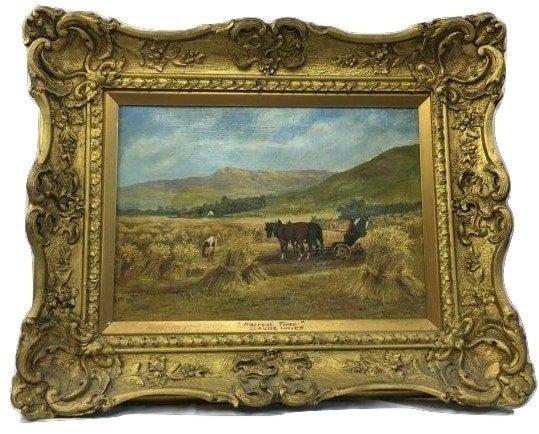 Claude Hayes Oil on Canvas Haystacks Impressionist