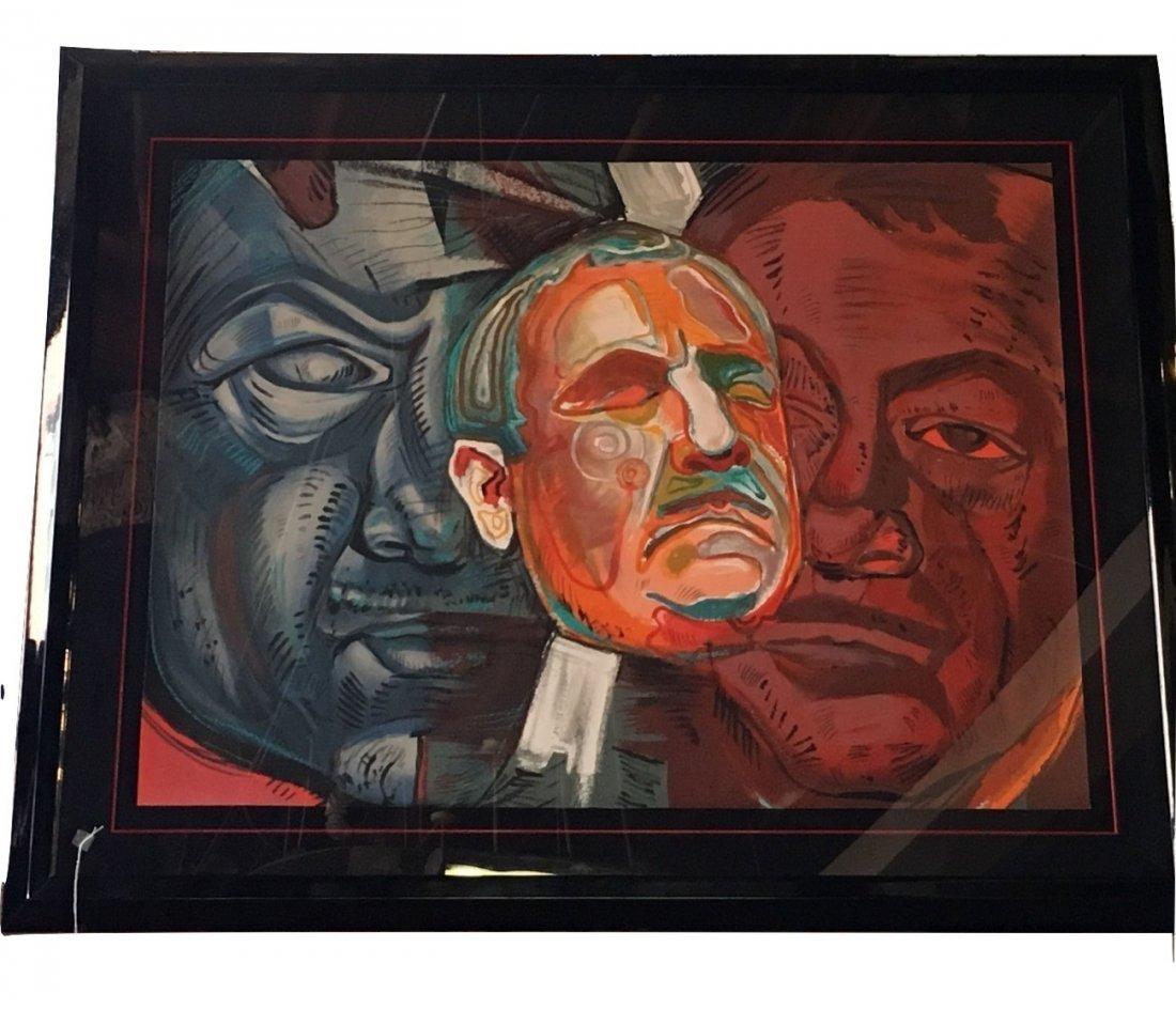 "Ernst Neizvestny ""Triple Self Portrait"" Signed Litho"