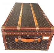 Louis Vuitton Large Trunk Leather Luggage LV Monogram