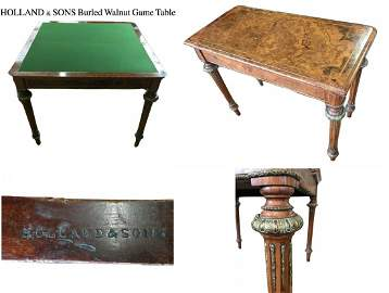 Holland & Sons Burled Walnut Game Table Louis XVI
