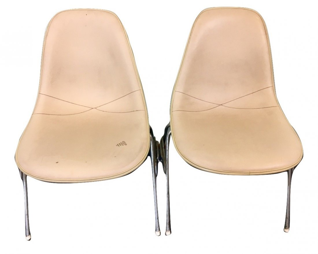 2 White Leather Herman Miller Side Chairs