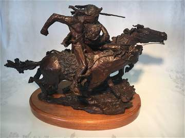 """Fate of the Scout"" bronze sculpture by Maher Morcos"