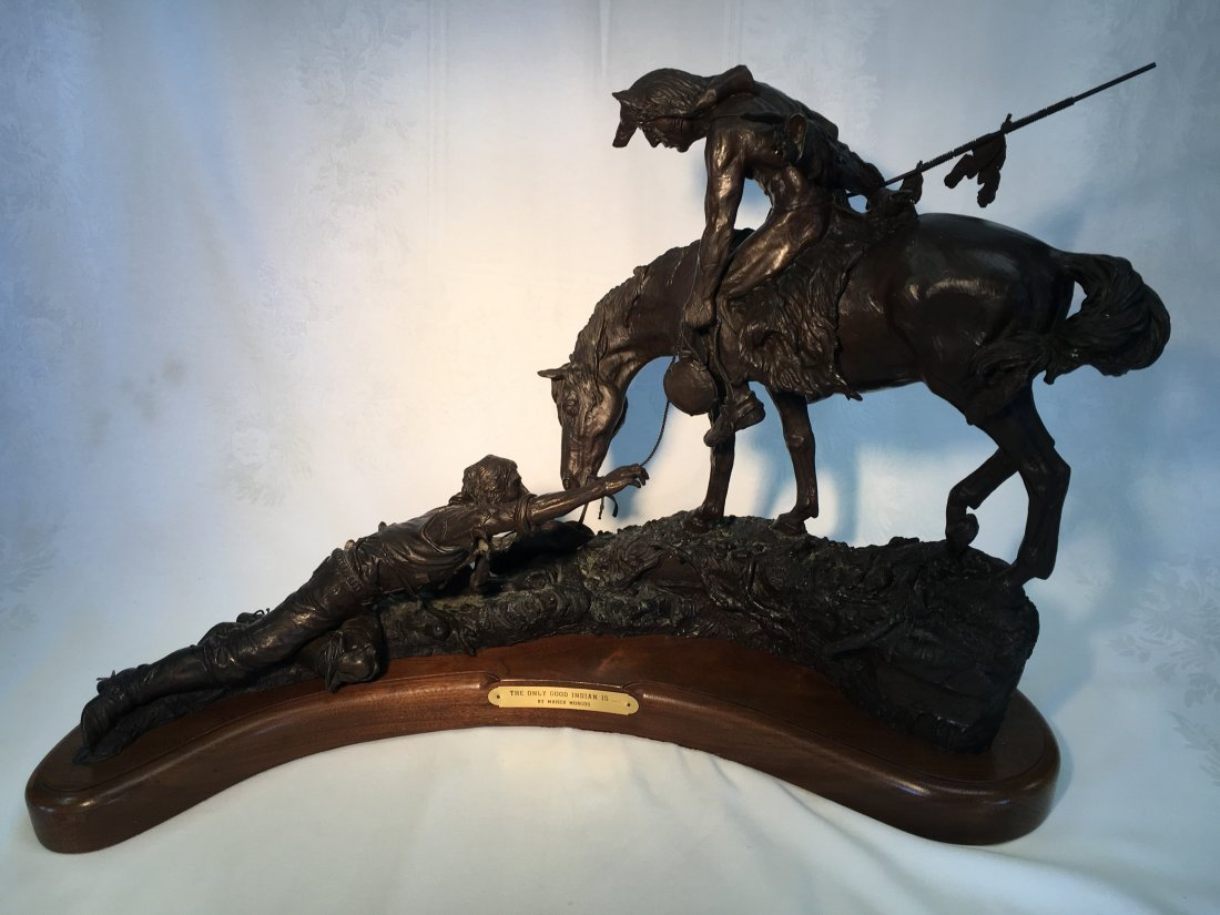 """""""The Only Good Indian Is"""" Bronze sculpture Maher Morcos"""