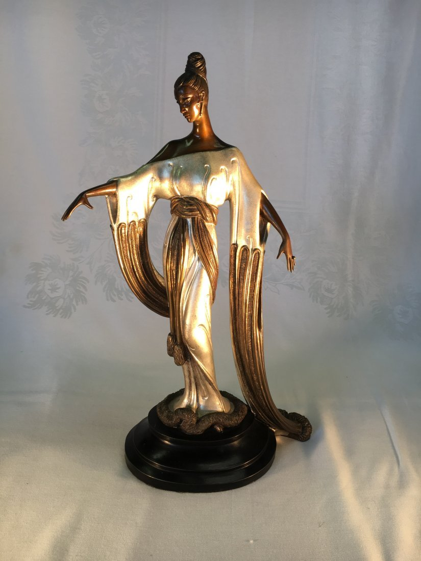 """Negligee"" white gold over bronze sculpture by Erte'"
