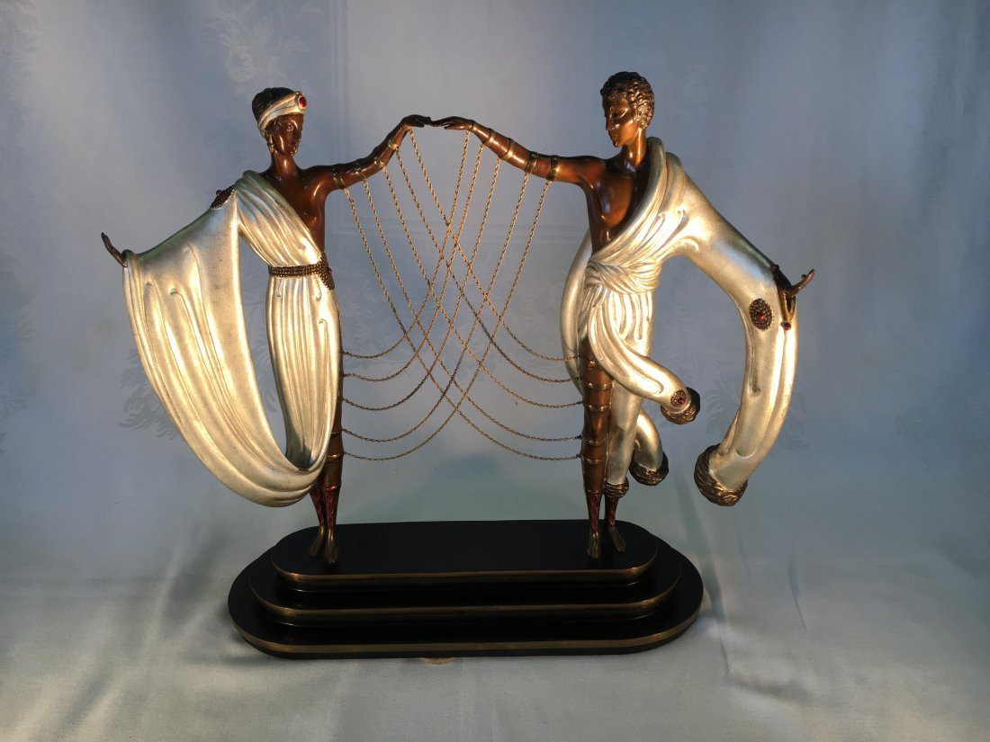 """""""The Wedding"""" white gold over bronze sculpture by Erte'"""