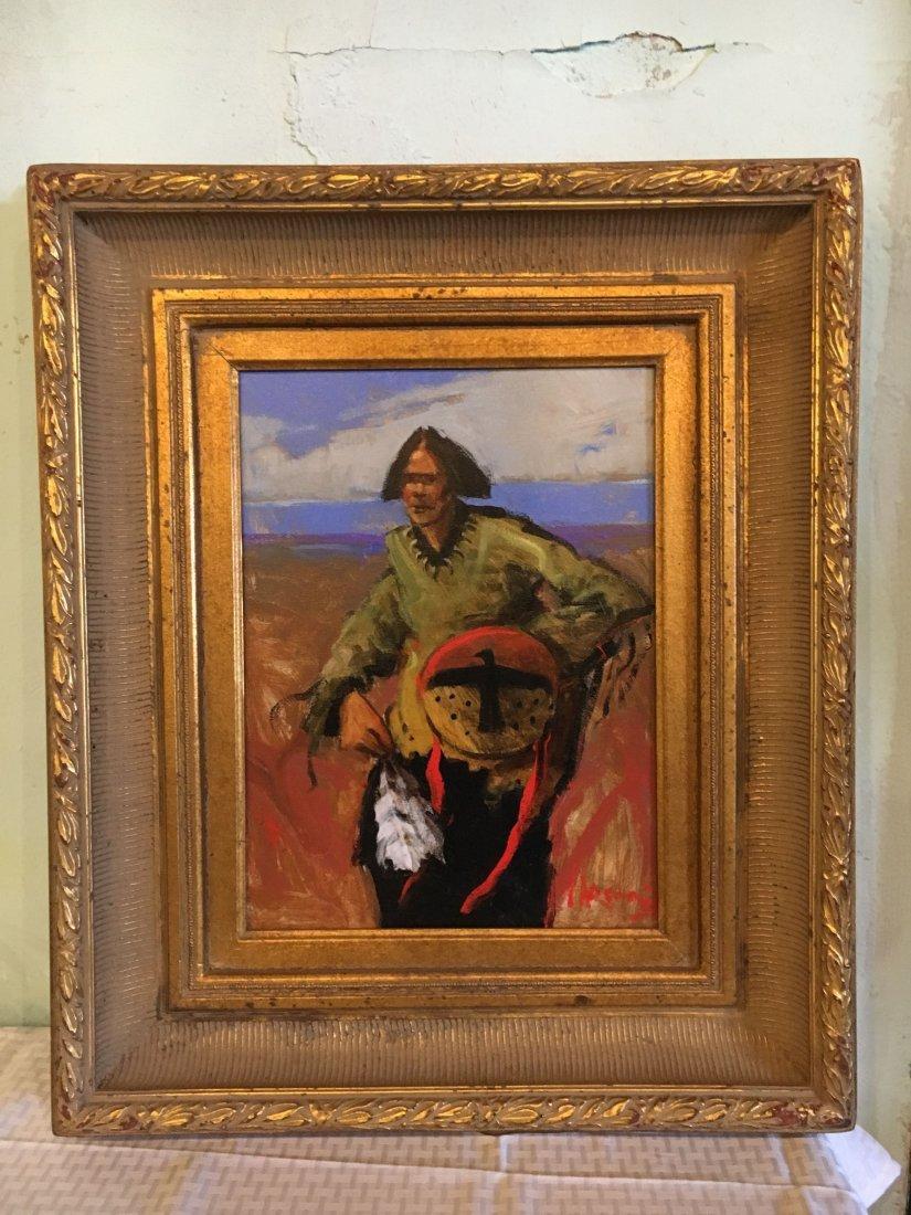 """Mike Larsen """"Raven Bearer"""" oil on canvas painting"""
