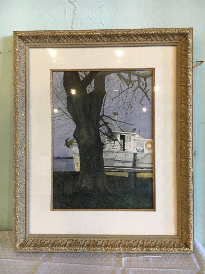 Dean Mitchell original watercolor & ink harbor scene