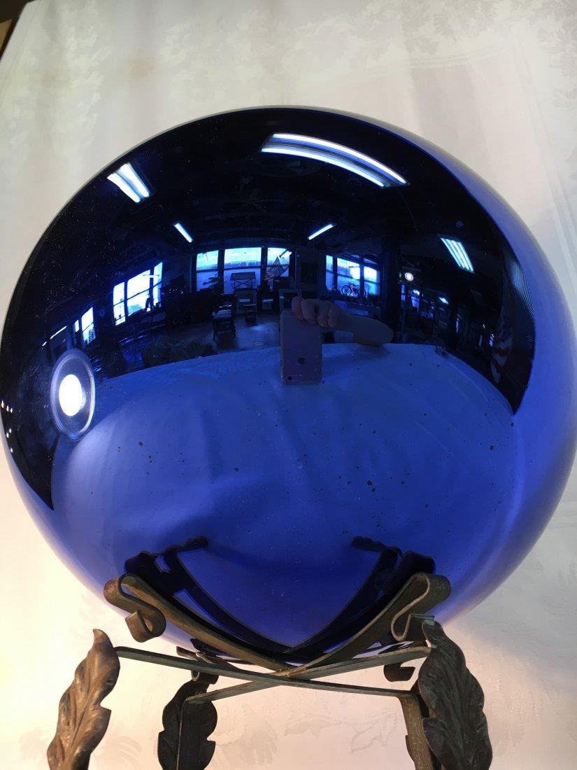 """HUGE 12"""" Vergo Glass Kugel Ball French Cobalt 1920's"""