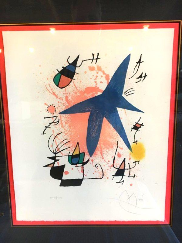 """Joan Miro signed & # lithograph """"Blue Star"""""""