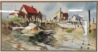 Connecticut watercolor artists directory - Ralph Acosta Original Seascape Watercolor Ny Ct
