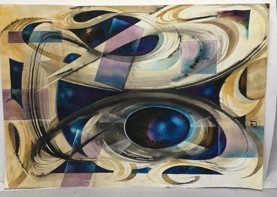 Stan Jorgensen Geometric Abstract Watercolor Diamond