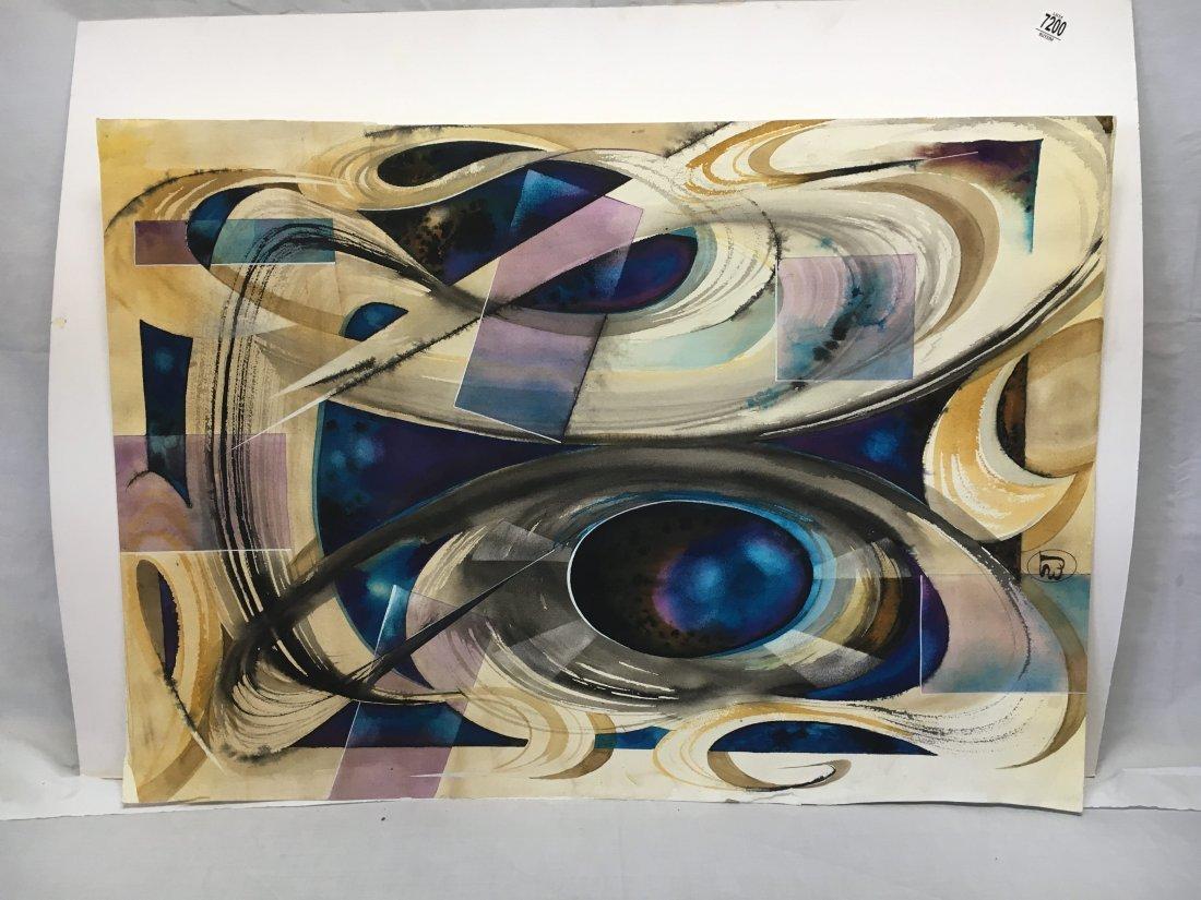 Stan Jorgensen Geometric Abstract Watercolor Diamond - 2