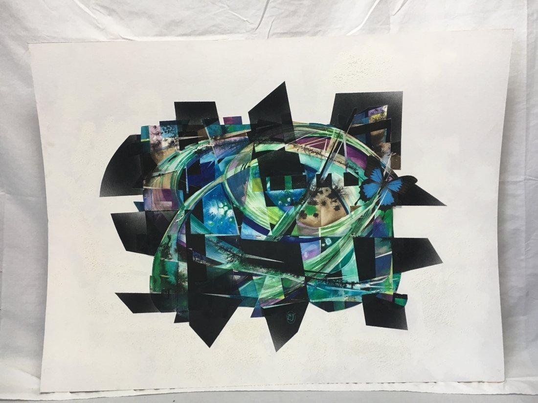 Stan Jorgensen Geometric Abstract Mixed Media Butterfly
