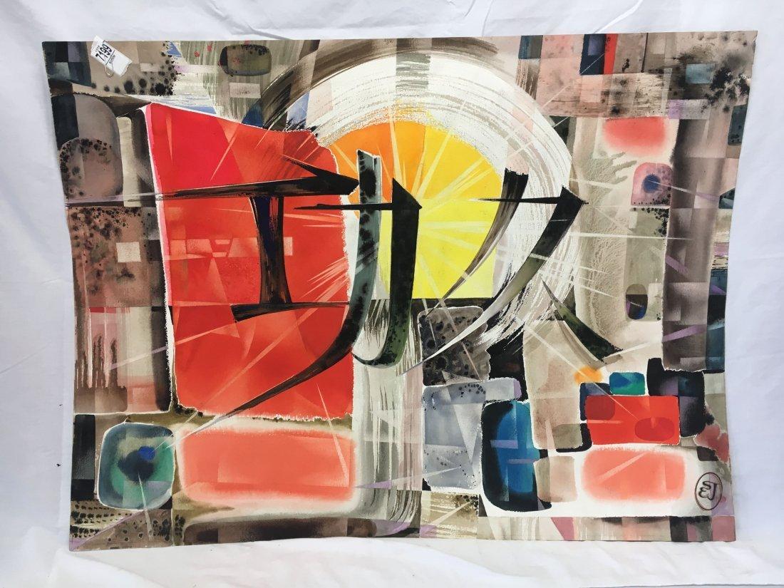 Stan Jorgensen Geometric Abstract Watercolor Coliseum