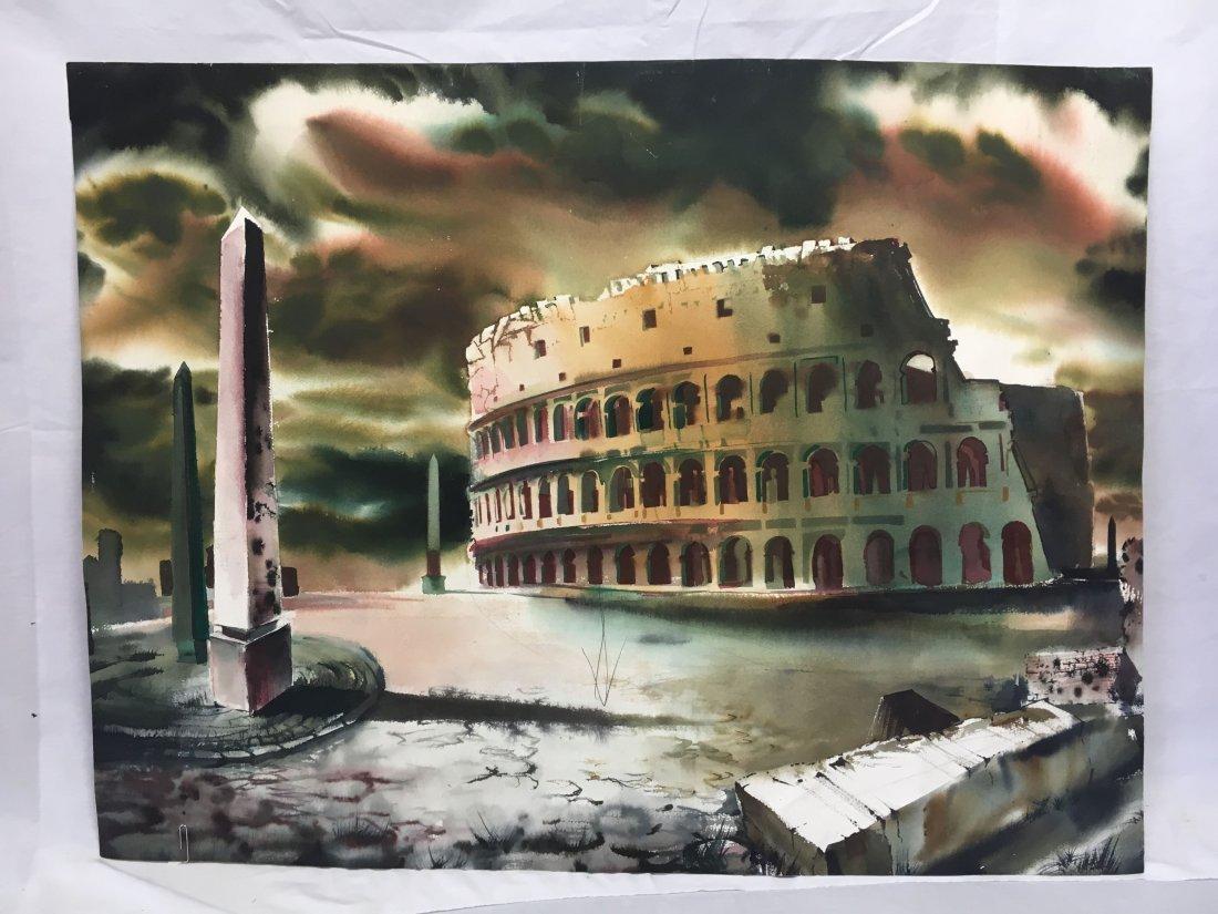 Stan Jorgensen Geometric Abstract Watercolor Coliseum - 2