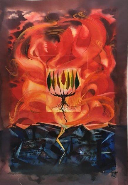 Stan Jorgensen Abstract Watercolor Flaming Menora Tree