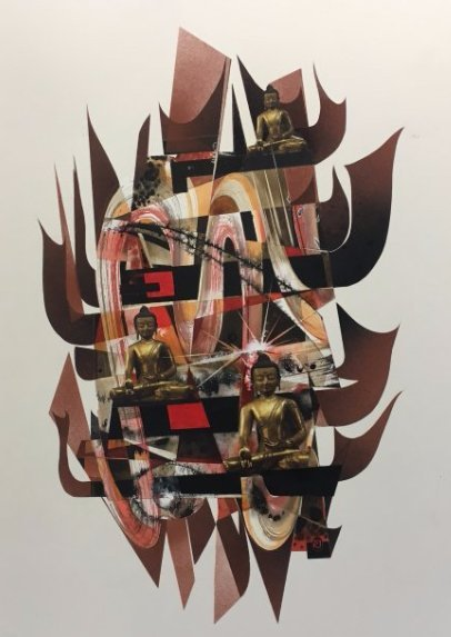 Stan Jorgensen Geometric Abstract Mixed Media Buddha