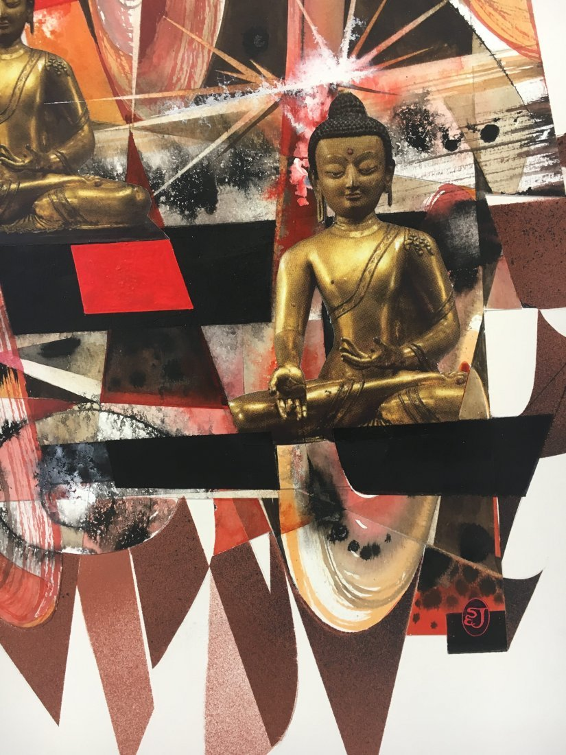 Stan Jorgensen Geometric Abstract Mixed Media Buddha - 4