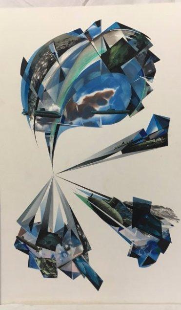 Stan Jorgensen Geometric Abstract Mixed Media Fish