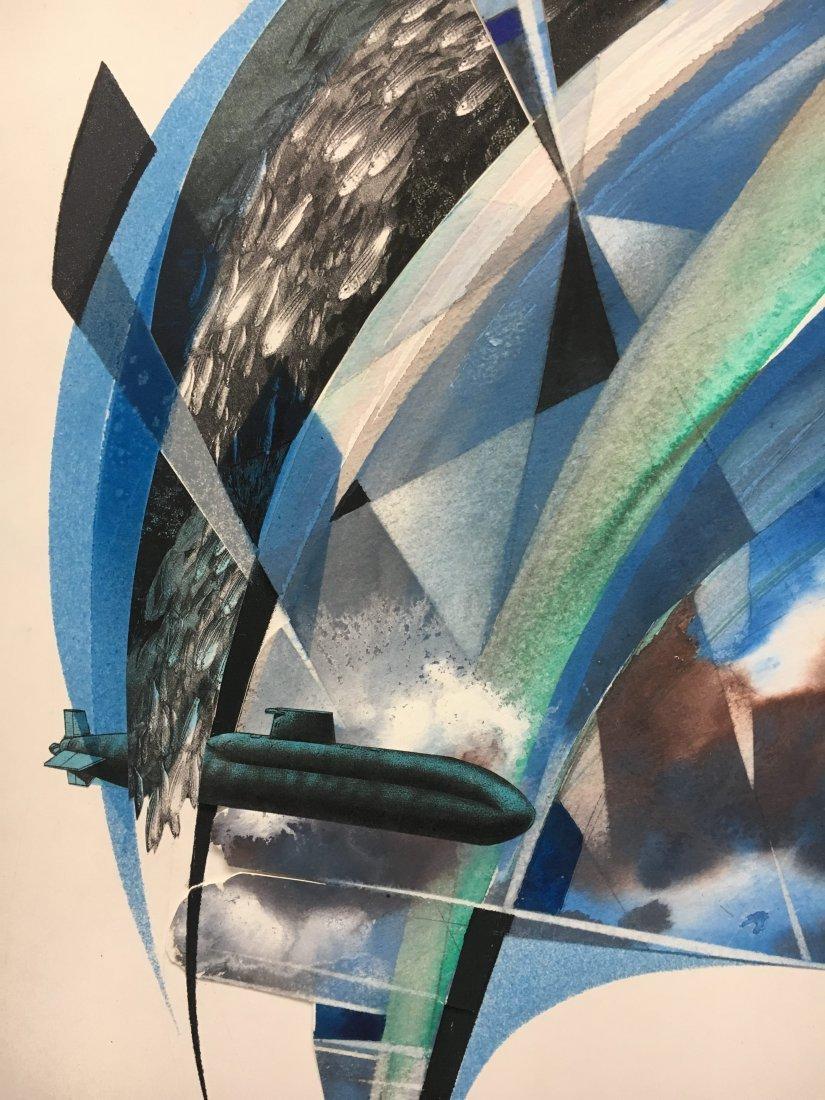 Stan Jorgensen Geometric Abstract Mixed Media Fish - 5