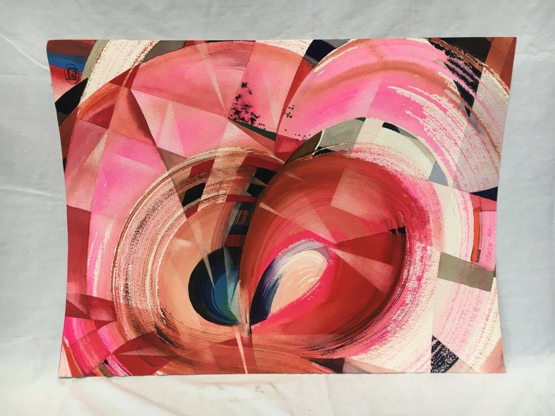 Stanley Jorgensen Geometric Abstract Swirl Watercolor