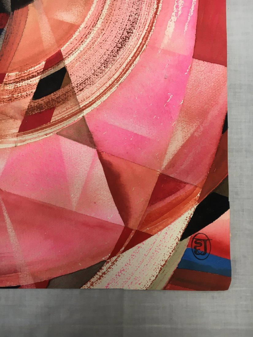 Stanley Jorgensen Geometric Abstract Swirl Watercolor - 2