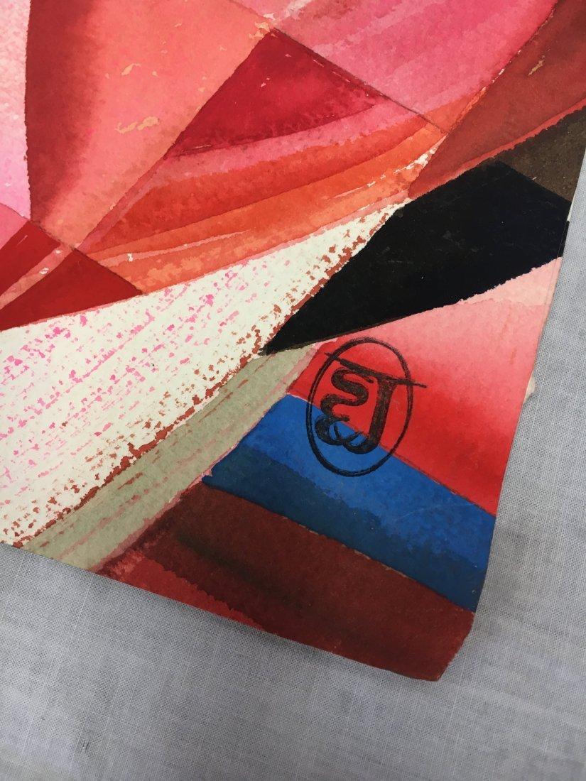 Stanley Jorgensen Geometric Abstract Swirl Watercolor - 3