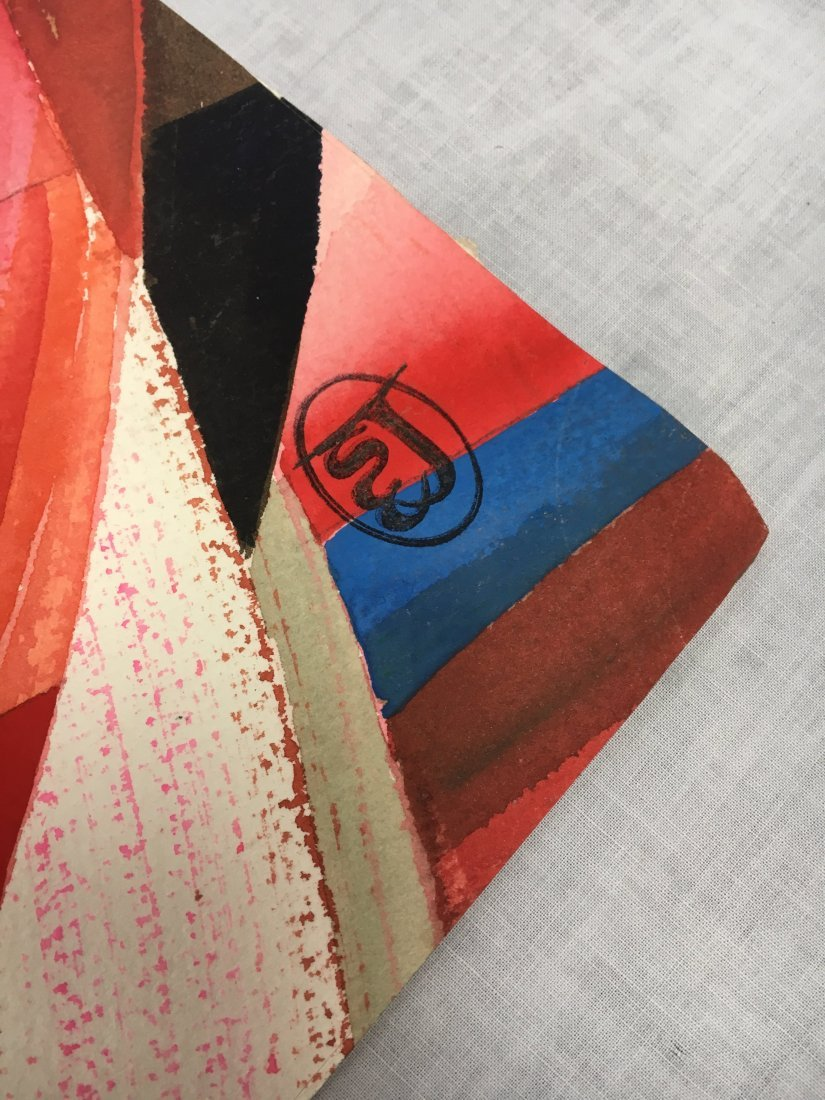 Stanley Jorgensen Geometric Abstract Swirl Watercolor - 4