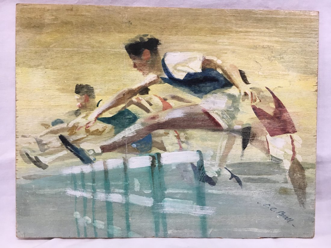 "C.C. Beall original watercolor ""Hurdlers"" illustration"