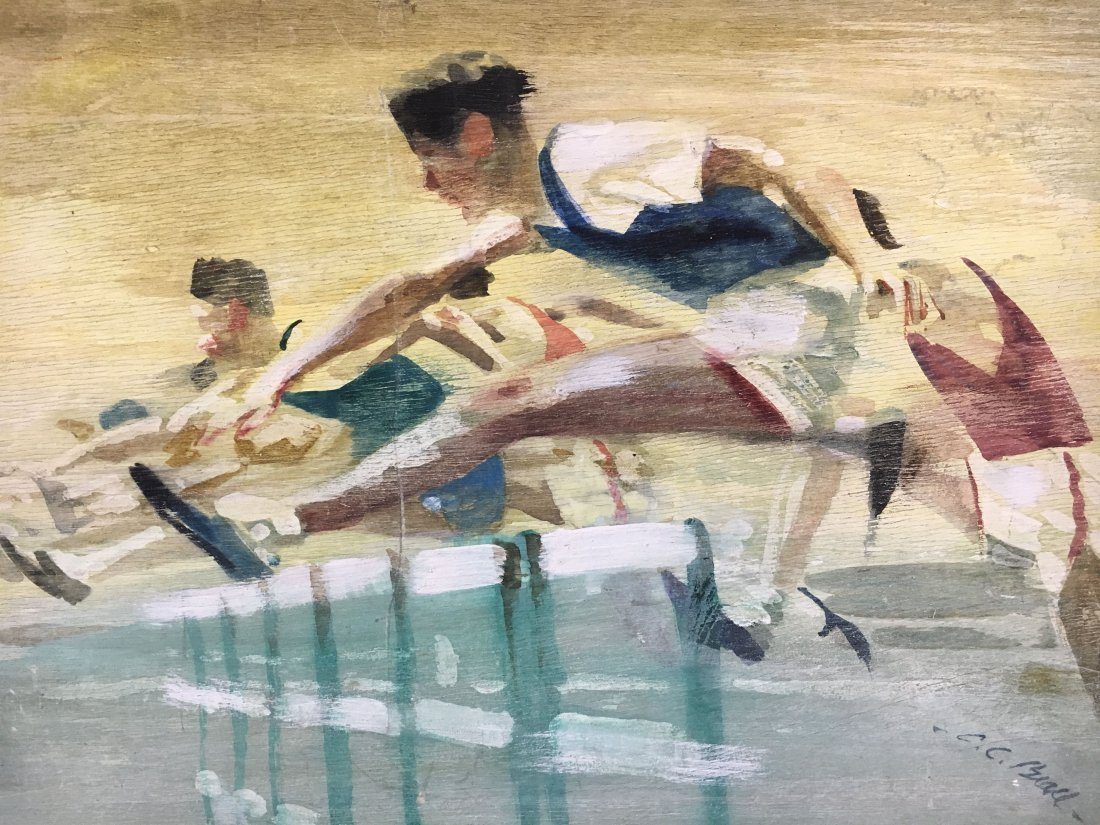 "C.C. Beall original watercolor ""Hurdlers"" illustration - 2"