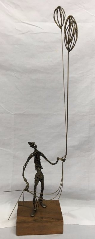 Mid Century Brutalist bronze ballon man sculpture