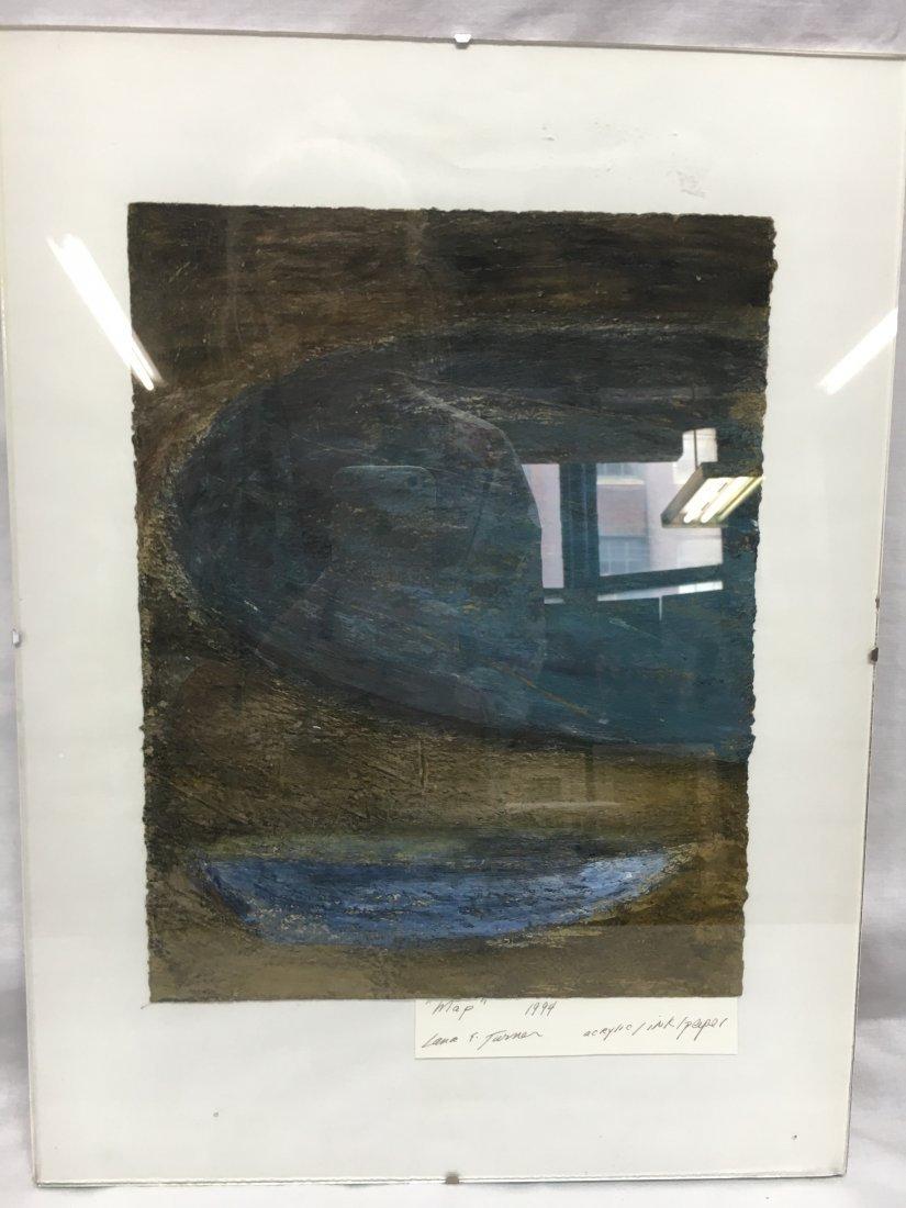 Lana Turner original abstract mixed media painting map