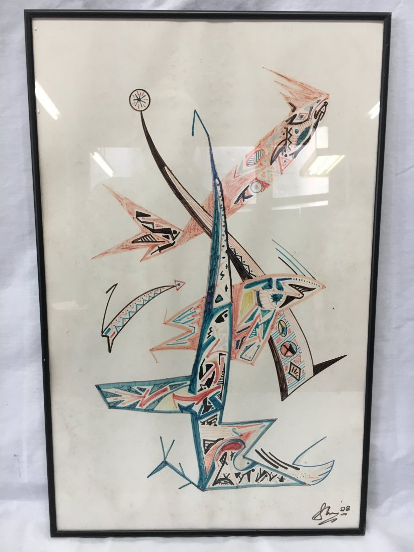 Seymour Meyer Mid Century Mod Abstract Drawing