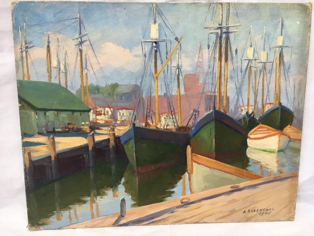Abraham Rosenthal harbor scene oil on canvas painting