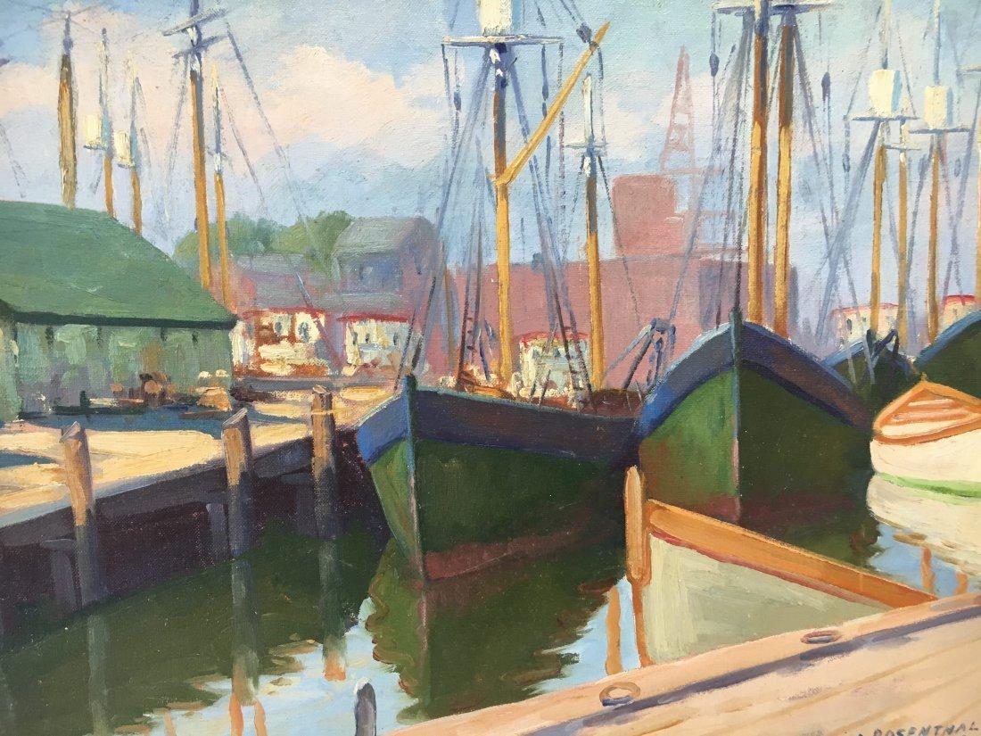 Abraham Rosenthal harbor scene oil on canvas painting - 3