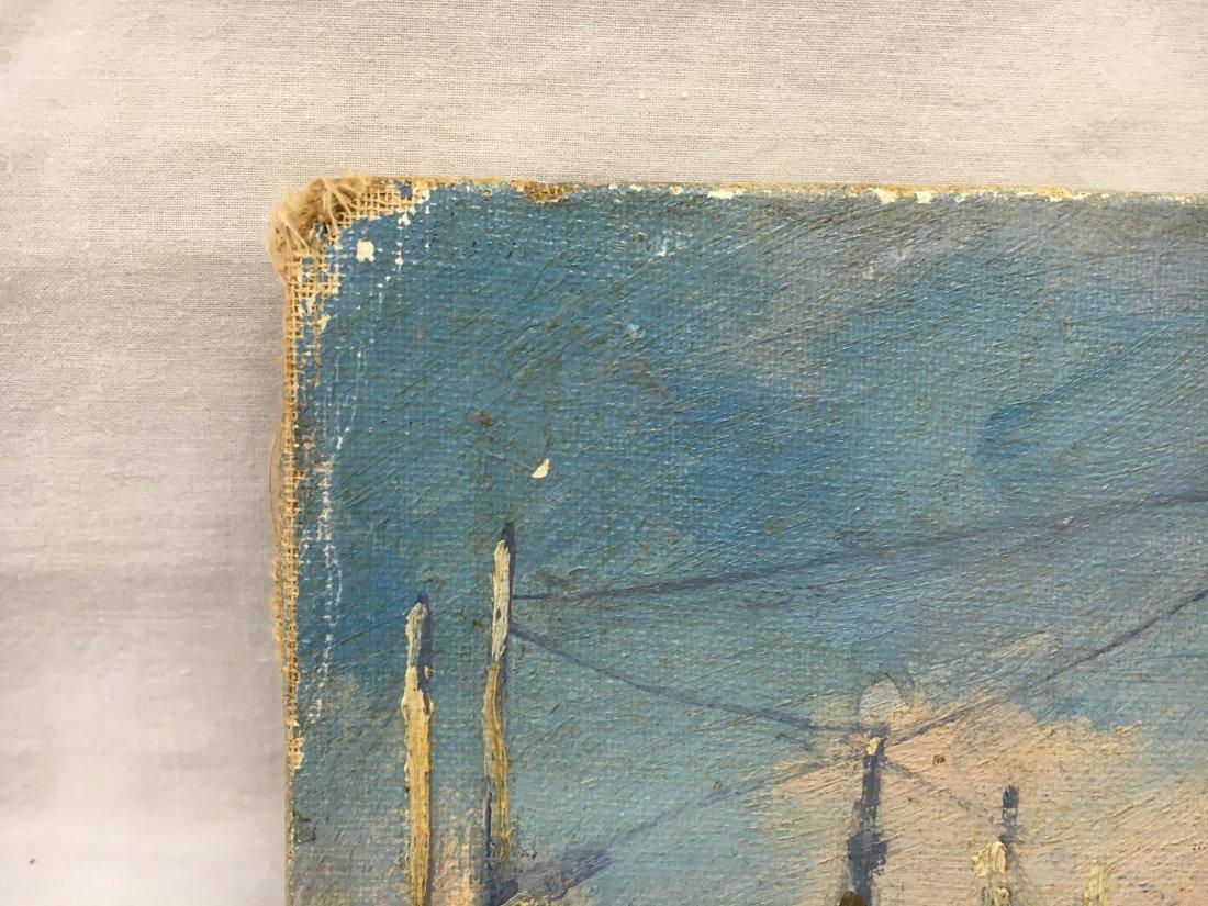 Abraham Rosenthal harbor scene oil on canvas painting - 5