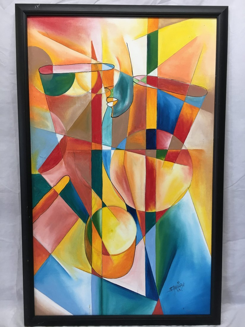 S. Hubbard acrylic on canvas painting Abstract Cubist