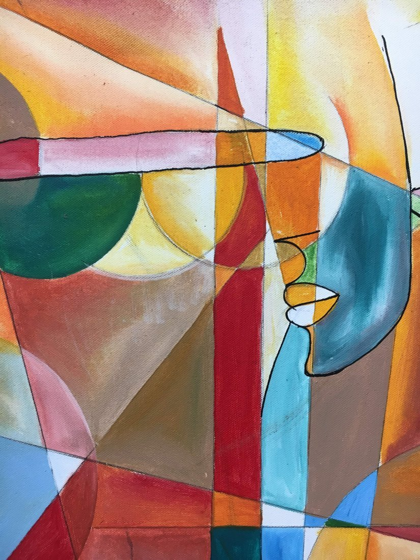S. Hubbard acrylic on canvas painting Abstract Cubist - 3