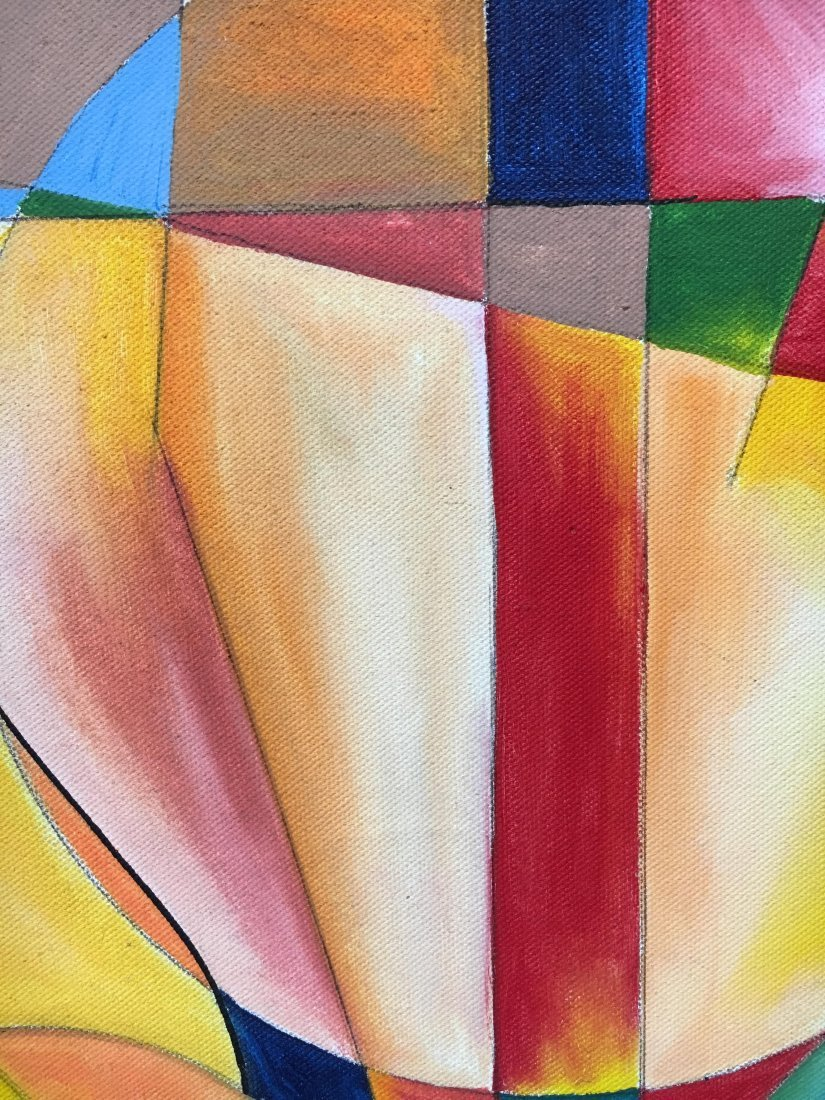 S. Hubbard acrylic on canvas painting Abstract Cubist - 4