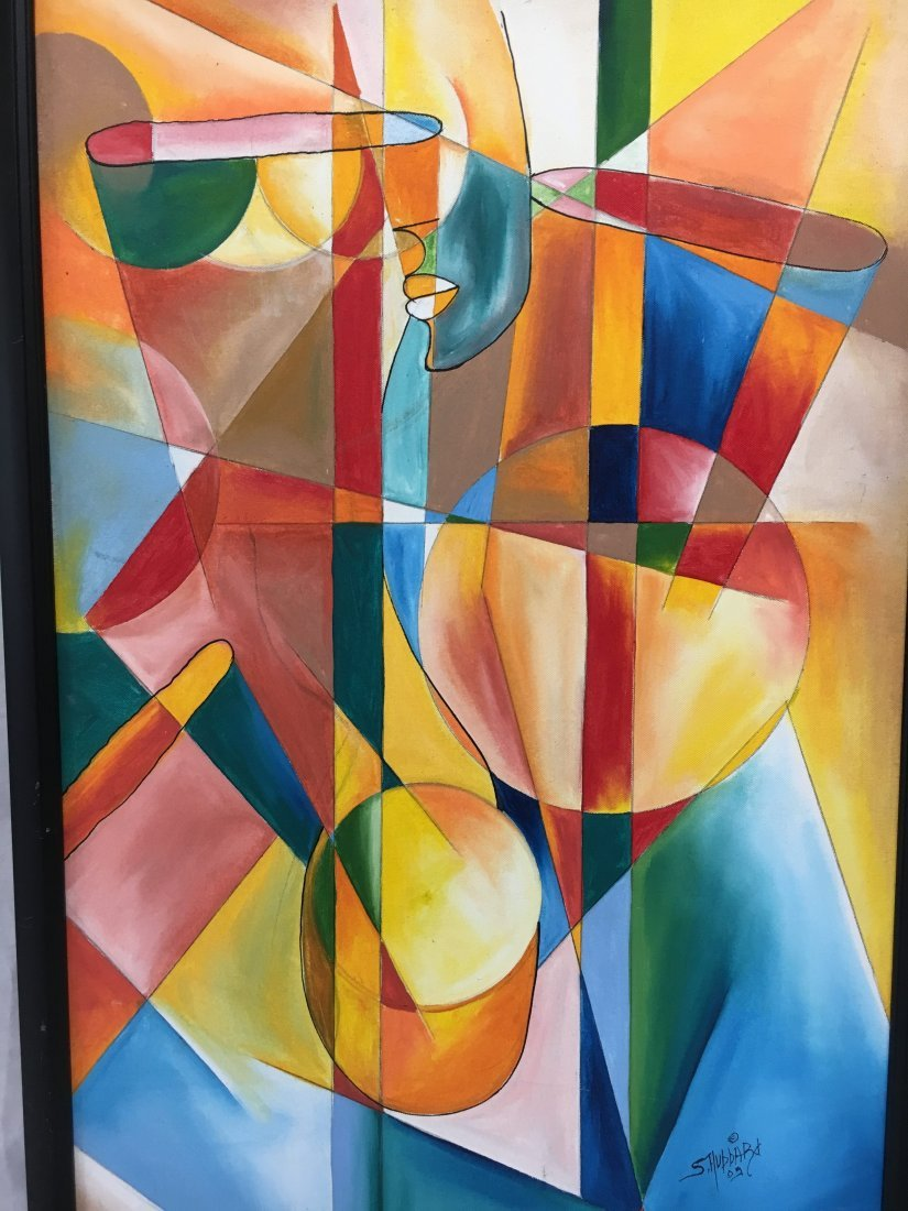 S. Hubbard acrylic on canvas painting Abstract Cubist - 5