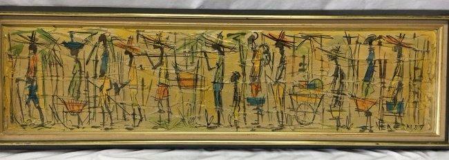 Jean Nerfin original Mid Century abstract impasto paint