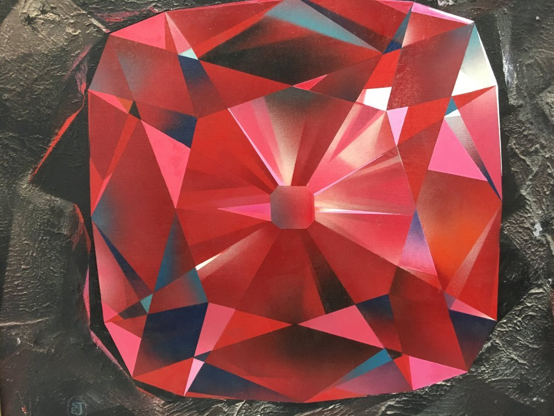 "Stan Jorgensen ""Ruby Rock"" abstract geometric painting"