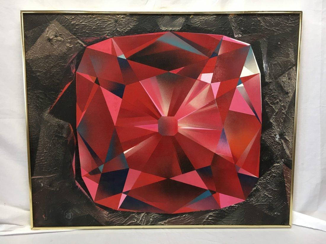 "Stan Jorgensen ""Ruby Rock"" abstract geometric painting - 2"