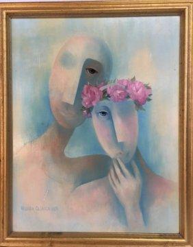 Linda Glovick original oil on board Surrealism painting