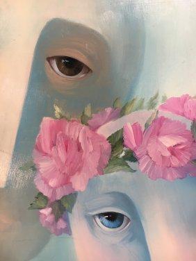 Linda Glovick original oil on board Surrealism painting - 2