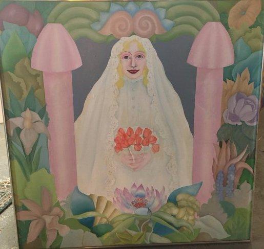 """Virgin Bride"" 1976 Rosalind pop outsider art painting"