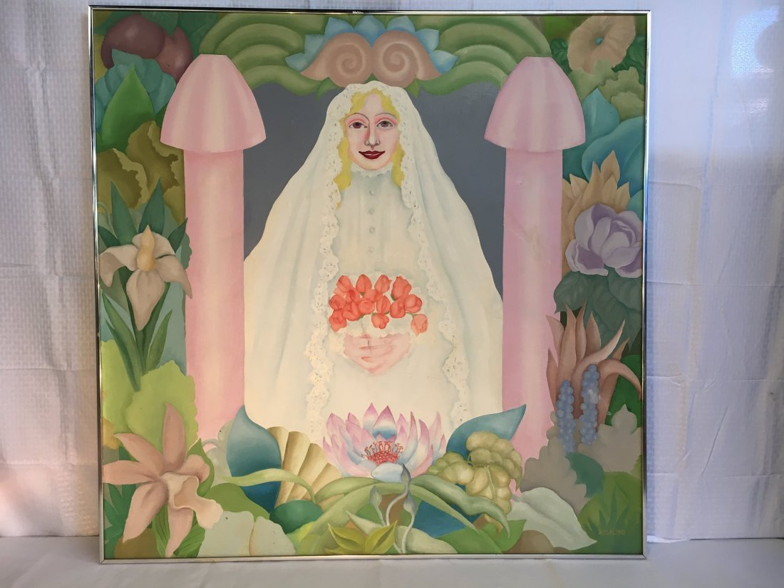 """Virgin Bride"" 1976 Rosalind pop outsider art painting - 3"