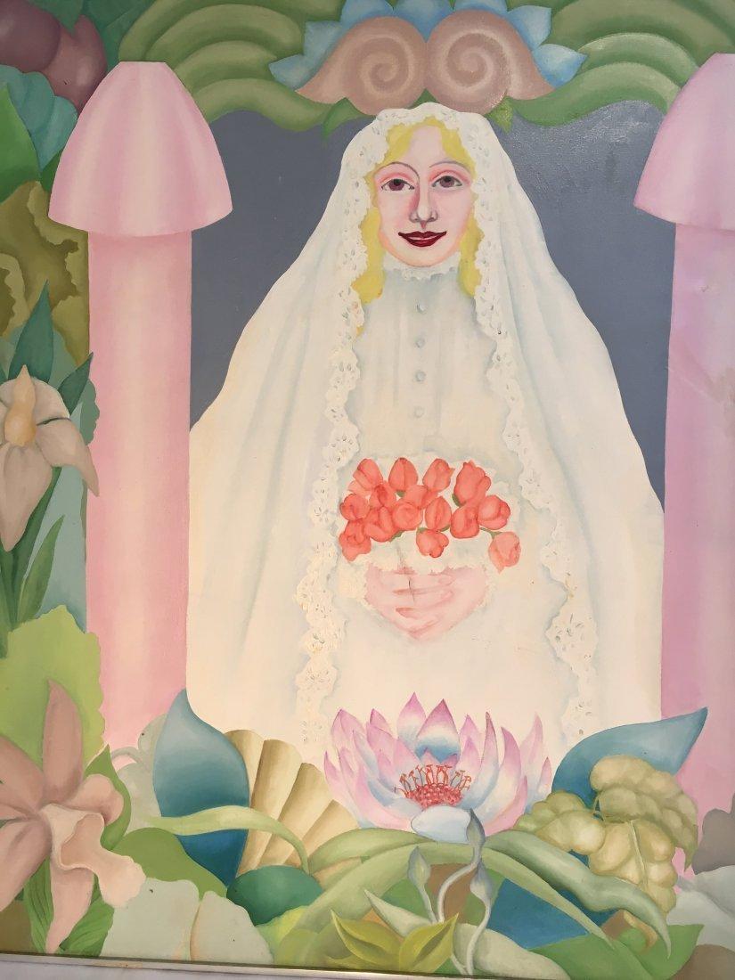 """Virgin Bride"" 1976 Rosalind pop outsider art painting - 4"