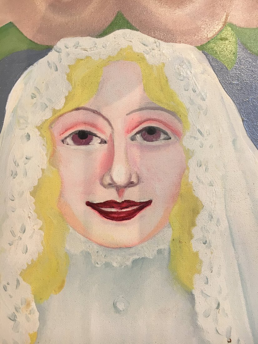 """Virgin Bride"" 1976 Rosalind pop outsider art painting - 6"